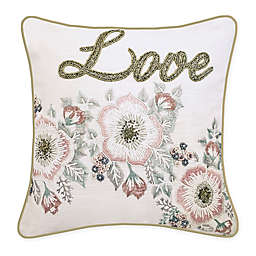 """Edie @ Home """"Love"""" Square Throw Pillow in Oyster/Pink"""