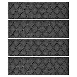 """Weather Guard™ Argyle 8.5"""" x 30"""" Stair Treads in Charcoal (Set of 4)"""