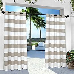 Striped Grommet Indoor/Outdoor Window Curtain Panel Pair