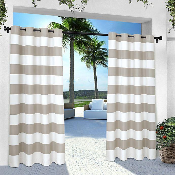Alternate image 1 for Striped Grommet Indoor/Outdoor Window Curtain Panel Pair