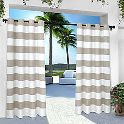 Striped Grommet Indoor/Outdoor Window Curtain Panel Pair