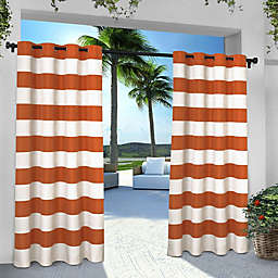 Striped 84-Inch Grommet Indoor/Outdoor Window Curtain Panel Pair in Orange