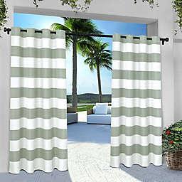 Striped 96-Inch Grommet Indoor/Outdoor Window Curtain Panel Pair in Seafoam
