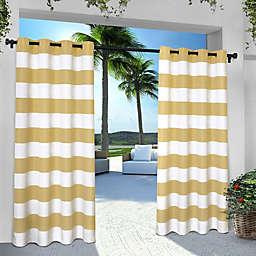 Striped 84-Inch Grommet Indoor/Outdoor Window Curtain Panel Pair in Yellow