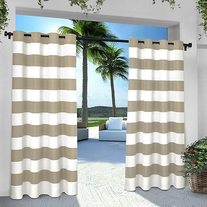 Alternate image 1 for Striped 96-Inch Grommet Indoor/Outdoor Window Curtain Panel Pair in Taupe