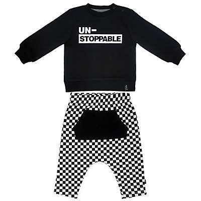 Mini Heroes™ 2-Piece Unstoppable Check Shirt and Pant Set in Black