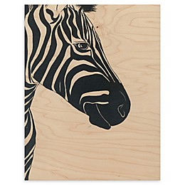 White Zebra 11-Inch x 14-Inch Wood Wall Art