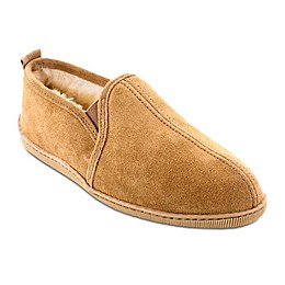 Minnetonka® Twin Gore Sheepskin Men's Slipper in Golden Tan