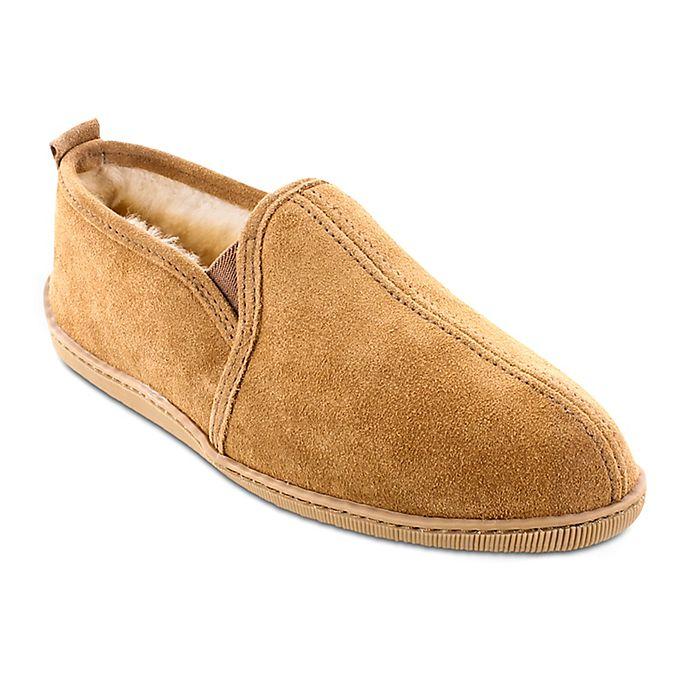 Alternate image 1 for Minnetonka® Twin Gore Sheepskin Men's Slipper in Golden Tan