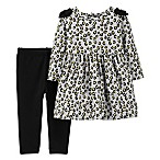 carter's® Size 3M 2-Piece Cheetah Print Legging and Dress Set in Heather