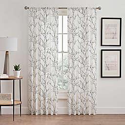 Stella 95-Inch Sheer Rod Pocket Window Curtain Panel in White/Black
