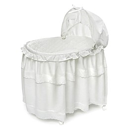 Badger Basket Portable Long Skirt Bassinet in White