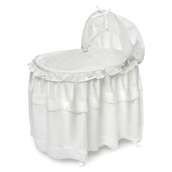 Alternate image 1 for Badger Basket Portable Long Skirt Bassinet in White