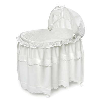 Badger Basket Portable Long Skirt Bassinet in White