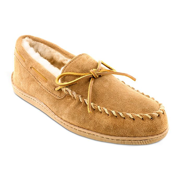 Alternate image 1 for Minnetonka® Men's Size 8 Sheepskin Hard Sole Moccasin Slipper in Tan