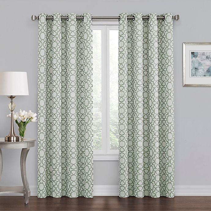 Alternate image 1 for Quinn Geo 108-Inch Grommet 100% Blackout Window Curtain Panel in Green