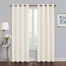 Quinn Geo 63-Inch Grommet 100% Blackout Window Curtain Panel in Linen