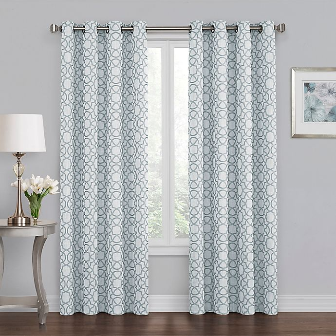 Alternate image 1 for Quinn Geo 63-Inch Grommet 100% Blackout Window Curtain Panel in Blue