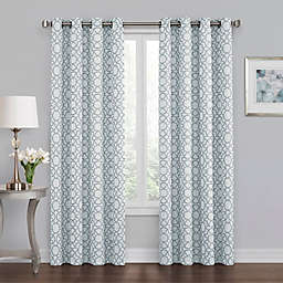 Quinn Geo 63-Inch Grommet 100% Blackout Window Curtain Panel in Blue
