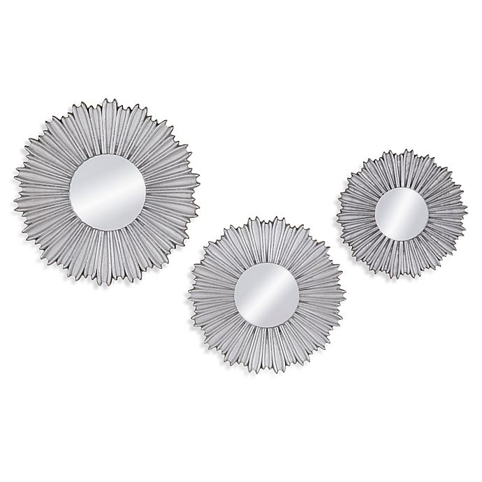 Alternate image 1 for Bassett Mirror Company 14-Inch Round Kendall Wall Mirrors in Silver Leaf (Set of 3)