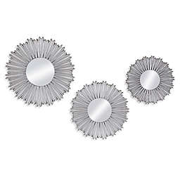 Bassett Mirror Company 14-Inch Round Kendall Wall Mirrors in Silver Leaf (Set of 3)