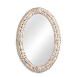 Bassett Mirror Company 27-Inch x 38-Inch Oval Mila Rope Wall Mirror in White
