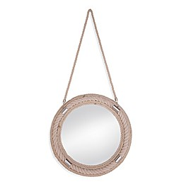 Bassett Mirror Company 22-Inch Round Norfolk Wall Mirror in White Wash