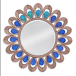 Bassett Mirror Company 36-Inch Fontana Round Wall Mirror in Blue