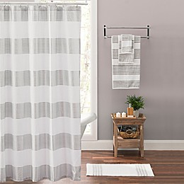 Victoria Striped Shower Curtain in Silver