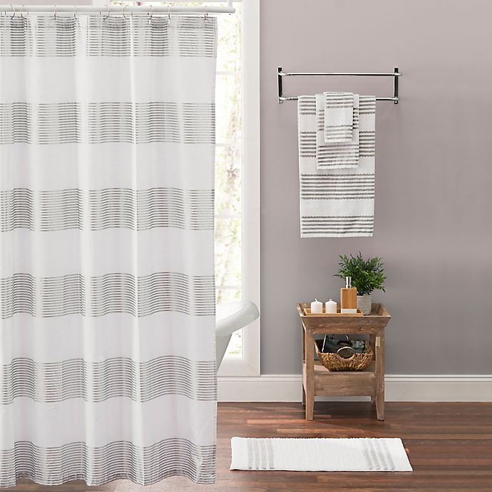 Alternate image 1 for Victoria Striped Shower Curtain in Silver