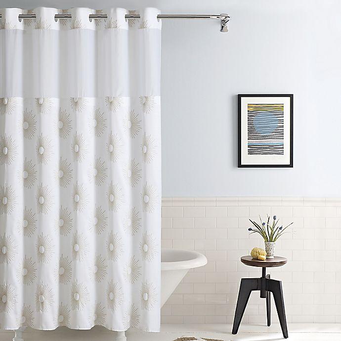 Hookless Sunburst Fabric Shower Curtain In Metallic Gold Bed