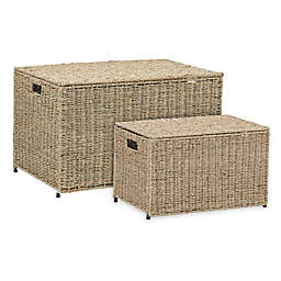 Household Essentials® Decorative Wicker Chest Lid Storage & Organization