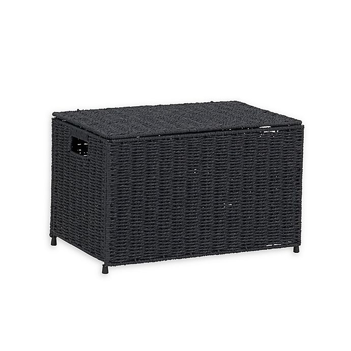 Alternate image 1 for Household Essentials® Small Decorative Wicker Chest Lid Storage & Organization in Black