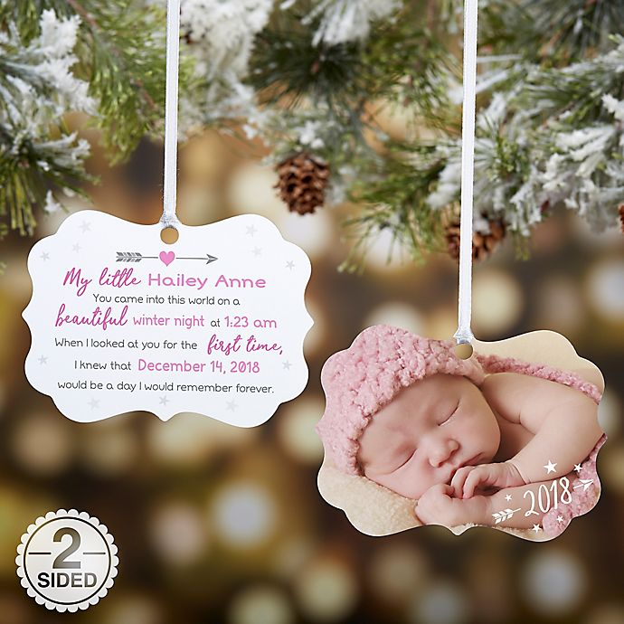 Alternate image 1 for Baby Resume Birth Info Personalized Photo Ornament
