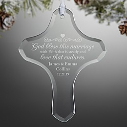 Marriage Blessing Cross Engraved Glass Ornament