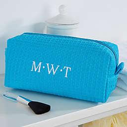 Embroidered Aqua Make-up Bag