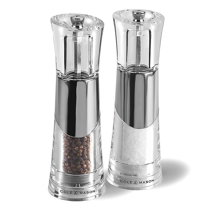 Alternate image 1 for Cole & Mason Brushed Chrome Salt/Pepper Mills