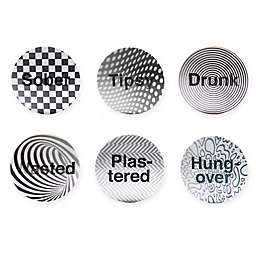 Kikkerland Design ® Cork 6-Piece Coaster Set in Black/White