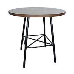 Carolina Forge Illona 36-Inch Round Bar Table in Black/Elm