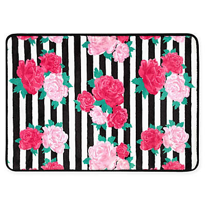 Betsey Johnson® Flower Stripe Memory Foam Bath Rug in Pink