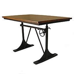 Carolina Forge Brooklyn Adjustable Height Table in Elm/Black