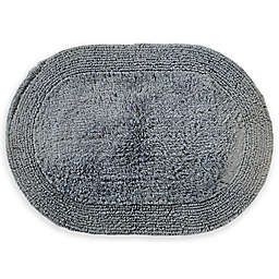 "Grund® Puro 17"" x 24"" Organic Cotton Reversible Oval Bath Rug in Sea Blue"