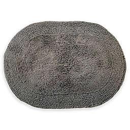 "Grund® Puro 21"" x 34"" Organic Cotton Reversible Oval Bath Rug in Graphite"