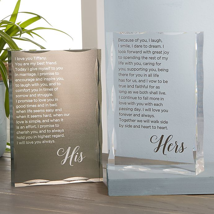 Alternate image 1 for His and Hers Vows Personalized Colored Keepsake