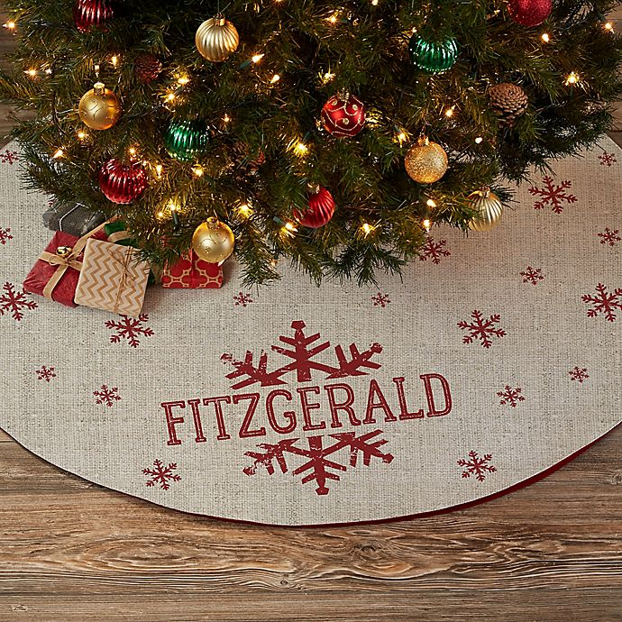 Alternate image 1 for Stamped Snowflake Personalized Christmas Tree Skirt