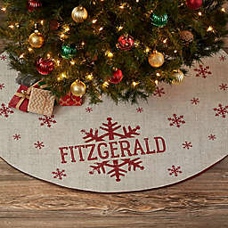 Stamped Snowflake Personalized Christmas Tree Skirt