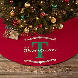 My Name & Monogram Personalized Christmas Tree Skirt