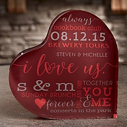 I Love Us Personalized Colored Heart Keepsake