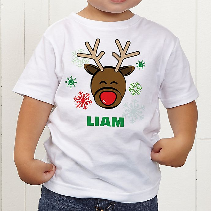 Alternate image 1 for Christmas Reindeer Personalized Toddler T-Shirt