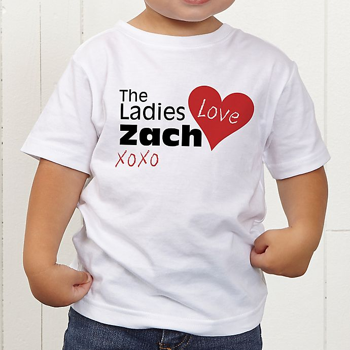 Alternate image 1 for The Ladies Love Me Personalized Toddler T-Shirt